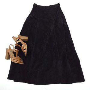 Vintage Breckenridge Leather Suede Midi Skirt